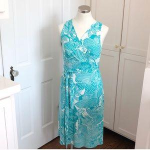 Talbots midi-length wrap dress floral turquoise S